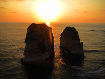 Pigeon Rock. One of the most visited sites in Beyrouth, Lebanon, during a beautiful sunset Royalty Free Stock Photography