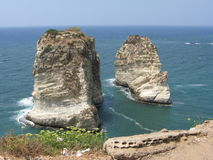 Pigeon rocks. In Lebanon, Beirut stock photography