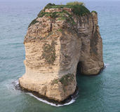 Pigeon Rocks. The larger of the two famous Pigeon Rocks. These geological landmarks as can be seen off the coast of Beirut (Lebanon Royalty Free Stock Photos