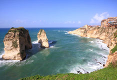 Pigeon Rocks Bay, Beirut- Lebanon. The famous Pigeon Rocks (Raouche) tourist attraction and geological landmark Stock Images