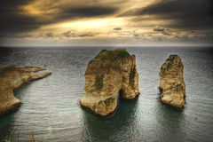 Pigeon Rocks, Beirut- Lebanon stock photo