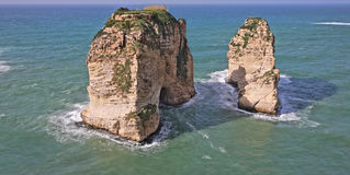 Pigeon Rocks, Beirut, Lebanon Royalty Free Stock Photography