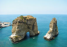 Pigeon Rocks, Beirut, Lebanon royalty free stock photo