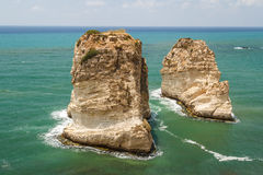 Pigeon rocks in Beirut stock photography