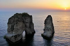 Pigeon Rocks in Beirut royalty free stock images