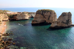 Pigeon Rocks in Beirut royalty free stock photography