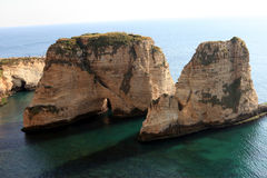Pigeon Rocks in Beirut Royalty Free Stock Photo
