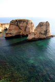 Pigeon Rocks in Beirut Stock Images