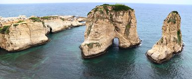 Pigeon Rocks, Lebanon Stock Photography