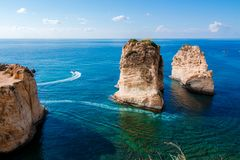 Pigeon Rocks at Raouche in Beirut, Lebanon royalty free stock images