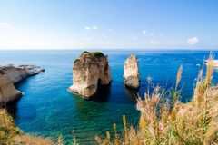 Pigeon Rocks at Raouche in Beirut, Lebanon stock photos