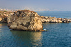 Pigeon Rocks in Raouche District, Beirut, Lebanon. stock images