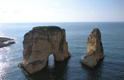 Pigeon Rocks (Rocks of Raouché), Beirut, Lebanon stock photo