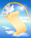 Pigeon, scroll and rainbow Royalty Free Illustration