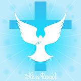 Pigeon in the sky by the cross. He is risen. Royalty Free Stock Image