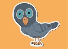 Pigeon sticker  with yellow background stock illustration