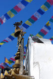 Pigeon on stupa of nepal Stock Images