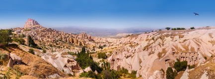 Pigeon valley and Uchisar village Royalty Free Stock Image