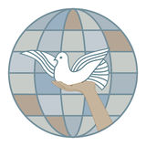 The pigeon of the world. White pigeon in hand on background of earth sphere Stock Images