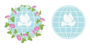 The pigeon of the world. White pigeon on background of blue earth sphere with flowers Royalty Free Stock Photo