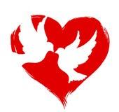 Pigeons avec le coeur Photo libre de droits