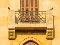 Pigeons in Beirut, Lebanon. Pigeons on a balcony in the downtown royalty free stock photos
