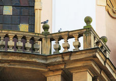 Pigeons on the bannister. Group of pigeons sitting on the old bannister of a church, Olomouc, Czech Republic royalty free stock images