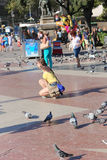 Pigeons in Barcelona Stock Photography
