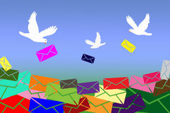 Pigeons bring letters Stock Images