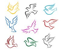 Pigeons and doves. Symbol set for peace or wedding concept design Royalty Free Stock Photos