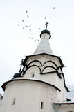 Pigeons flies over the Uspenskay church. Suzdal. stock photography