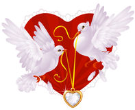 Pigeons and golden heart. Two white pigeons and golden heart Royalty Free Stock Photo