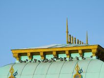 PIGEONS IN THE GREEN ROOF, YELLOW BOARDS, CLEAR SKY stock images