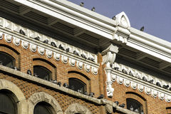 Pigeons lined up along roof and ledges of sunlit historical buil Stock Photo