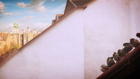 Pigeons on one of the roofs of Hungarian capital Budapest. 