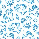 Pigeons, plumes et d'oeufs modèle sans couture bas poly Lignes bleues sur le fond blanc illustration stock