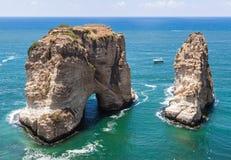 Pigeons' Rock limestone island in Beirut, Lebanon stock photo