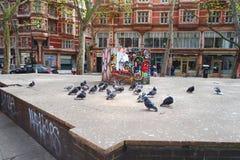 Pigeons Street Art London City. Group of pigeons in front of street art in middle of London City Stock Photography