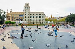 Pigeons and tourists in Catalonia Plaza, Barcelona Royalty Free Stock Image