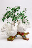 Pigeons under a birch. Composition from a figurine of two pigeons sitting under a birch Stock Images