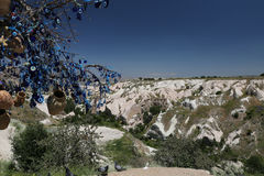 Pigeons Valley and Evil Eye Beads Tree in Cappadocia Royalty Free Stock Photography