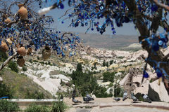 Pigeons Valley and Evil Eye Beads Tree in Cappadocia Royalty Free Stock Images