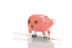 Pigg rosa dei soldi con l'euro Fotografia Stock Libera da Diritti