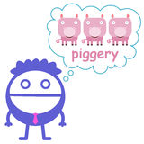 Piggery plans. A business man planning to have a piggery Stock Images