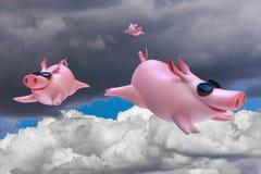 Piggies engraçados do voo Mergulhadores do céu Imagens de Stock