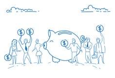 Piggy αποταμίευση μετρητών ομαδικής εργασίας έννοιας πλούτου αύξησης χρημάτων τραπεζών επενδύσεων νομισμάτων δολαρίων εκμετάλλευσ Απεικόνιση αποθεμάτων