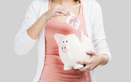 piggy αποταμίευση τοποθέτησης χρημάτων τραπεζών στοκ εικόνες
