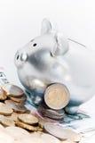 piggy ασήμι ευρώ τραπεζών Στοκ Εικόνα