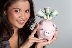 piggy γυναίκα τραπεζών στοκ φωτογραφίες με δικαίωμα ελεύθερης χρήσης