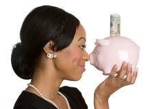 piggy γυναίκα τραπεζών στοκ φωτογραφία με δικαίωμα ελεύθερης χρήσης